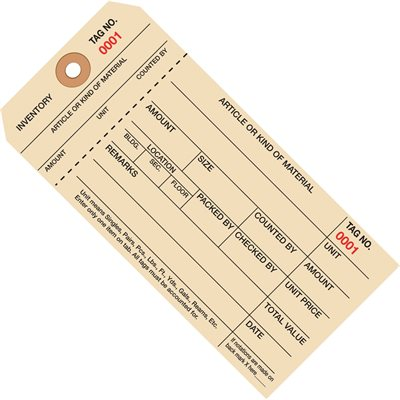 """6 1/4 x 3 1/8"""" - (0000-0999) Inventory Tags 1 Part Stub Style #8"""