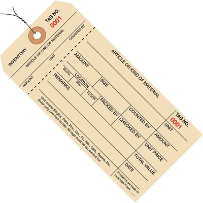 """6 1/4 x 3 1/8"""" - (6000-6999) Inventory Tags 1 Part Stub Style #8 - Pre-Wired"""
