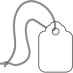 "3/8 x 13/16"" White Merchandise Tags - Pre-Strung White String"