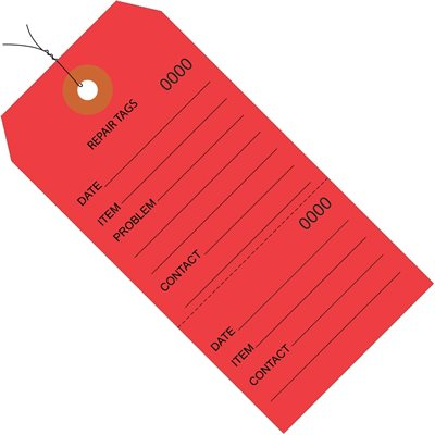 """6 1/4 x 3 1/8"""" Red Repair Tags Consecutively Numbered - Pre-Wired"""