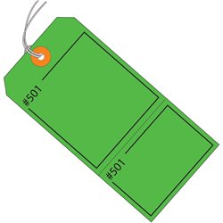 "4 3/4 x 2 3/8"" Green Claim Tags Consecutively Numbered - Pre-Strung"