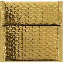 "7 x 6 3/4"" Gold Glamour Bubble Mailers"
