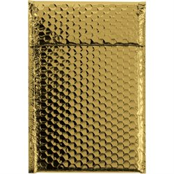 "7 1/2 x 11"" Gold Glamour Bubble Mailers"