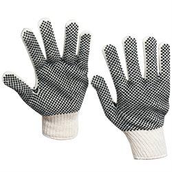 PVC Black Dot Knit Gloves - Large