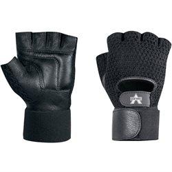 Mesh Material Handling Fingerless Gloves w/ Wrist Strap - Medium