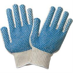 PVC Blue Dot Knit Gloves - Large