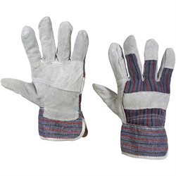 Leather Palm w/Safety Cuff Gloves - Medium