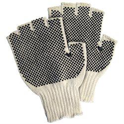 Fingerless PVC Dot Knit Gloves - Large