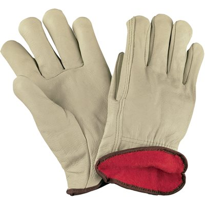 Cowhide Leather Drivers Gloves Lined - Medium