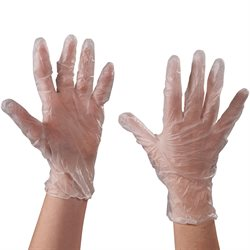Vinyl Gloves - Clear - 3 Mil Powdered - Large