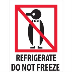 "3 x 4"" - ""Refrigerate - Do Not Freeze"" Labels"