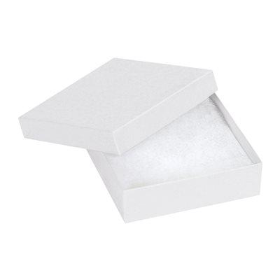 "3 1/2 x 3 1/2 x 1"" White Jewelry Boxes"