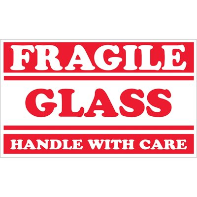 """3 x 5"""" - """"Fragile - Glass - Handle With Care"""" Labels"""
