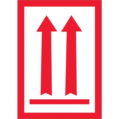"""3 x 5"""" - (Two Red Arrows Over Red Bar) Arrow Labels"""