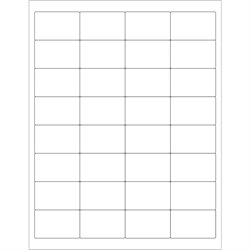 """2 x 1 1/4"""" White Rectangle Laser Labels"""