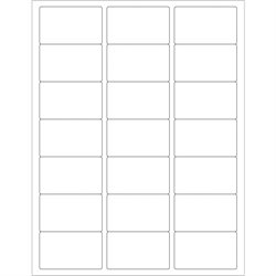 """2 1/2 x 1 1/2"""" White Rectangle Laser Labels"""