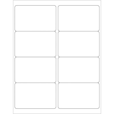 """4 x 2 1/2"""" White Rectangle Laser Labels"""