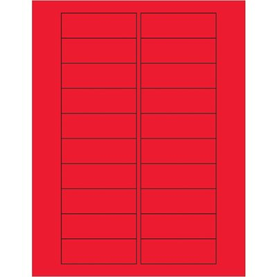 """3 x 1"""" Fluorescent Red Rectangle Laser Labels"""