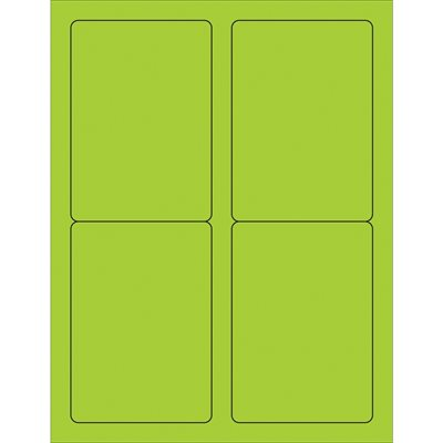 """3 1/2 x 5"""" Green Rectangle Laser Labels"""