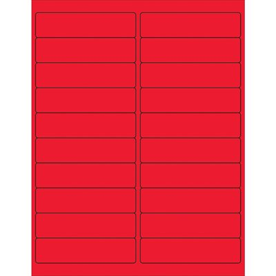 """4 x 1"""" Fluorescent Red Rectangle Laser Labels"""