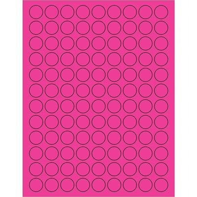 "3/4"" Fluorescent Pink Circle Laser Labels"