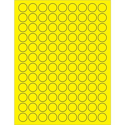 """3/4"""" Fluorescent Yellow Circle Laser Labels"""