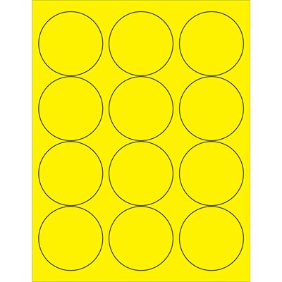 """2 1/2"""" Fluorescent Yellow Circle Laser Labels"""