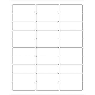 """2 5/8 x 1"""" Glossy White Rectangle Laser Labels"""