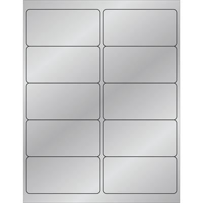 "4 x 2"" Silver Foil Rectangle Laser Labels"