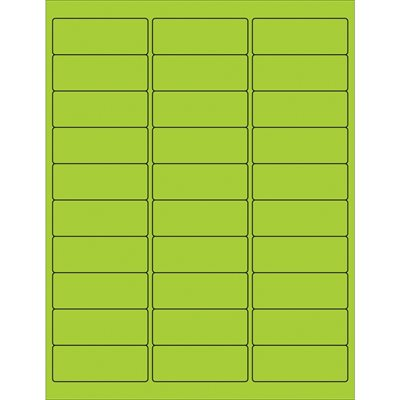 """2 5/8 x 1"""" Fluorescent Green Removable Rectangle Laser Labels"""