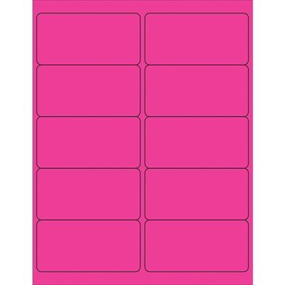 """4 x 2"""" Fluorescent Pink Removable Rectangle Laser Labels"""
