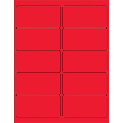 """4 x 2"""" Fluorescent Red Removable Rectangle Laser Labels"""