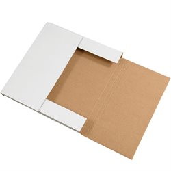 """12 1/2 x 12 1/2 x 1"""" White Easy-Fold Mailers"""