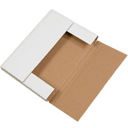 """14 1/8 x 8 5/8 x 1"""" White Easy-Fold Mailers"""