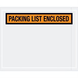 "4 1/2 x 5 1/2"" Orange ""Packing List Enclosed"" Envelopes"