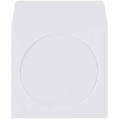 "4 7/8 x 5"" Paper Windowed White CD/DVD Sleeves"