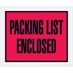 "4 1/2 x 5 1/2"" Red ""Packing List Enclosed"" Envelopes"