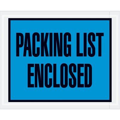 "4 1/2 x 5 1/2"" Blue ""Packing List Enclosed"" Envelopes"