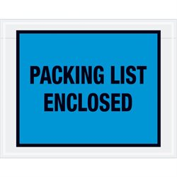 "7 x 5 1/2"" Blue ""Packing List Enclosed"" Envelopes"