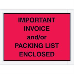 "4 1/2 x 6"" Red ""Important Invoice and/or Packing List Enclosed"" Envelopes"