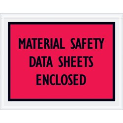 "7 x 5 1/2"" Red ""Material Safety Data Sheets Enclosed"" Envelopes"