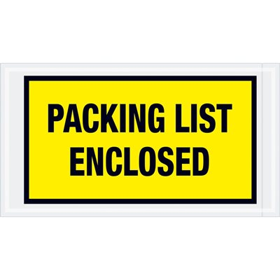"""5 1/2 x 10"""" Yellow """"Packing List Enclosed"""" Envelopes"""