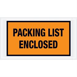 "5 1/2 x 10"" Orange ""Packing List Enclosed"" Envelopes"