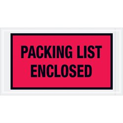 "5 1/2 x 10"" Red ""Packing List Enclosed"" Envelopes"