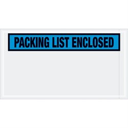 "5 1/2 x 10"" Blue ""Packing List Enclosed"" Envelopes"