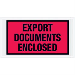"5 1/2 x 10"" Red ""Export Documents Enclosed"" Envelopes"