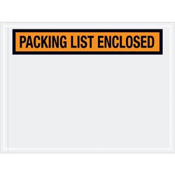 "4 1/2 x 6"" Orange ""Packing List Enclosed"" Envelopes"