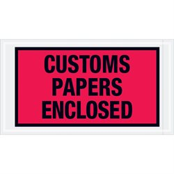 "5 1/2 x 10"" Red ""Customs Papers Enclosed"" Envelopes"