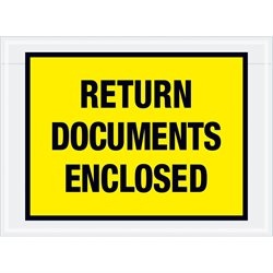 "7 1/2 x 5 1/2"" Yellow ""Return Documents Enclosed"" Envelopes"