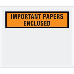 "10 x 12"" Orange ""Important Papers Enclosed"" Envelopes"